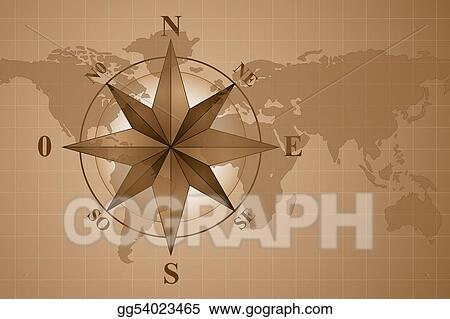 Drawings Map World And Compass Rose Stock Illustration Gg54023465