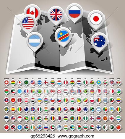 Eps vector map world with flags stock clipart illustration map world with flags gumiabroncs Image collections