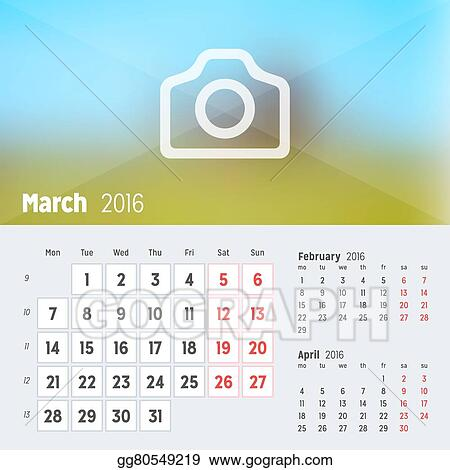 Vector Art March 2016 Desk Calendar For 2016 Year Vector