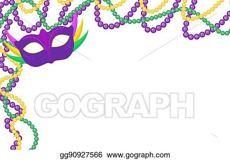 Vector Stock - Mardi gras beads colored frame with a mask, isolated ...