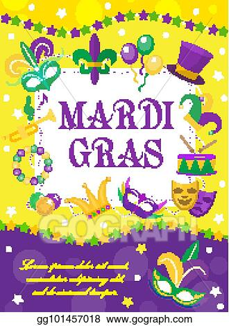 Mardi Gras carnival poster, invitation, greeting card. Happy Mardi Gras Template for your design with mask feathers, beads. Holiday in New Orleans.