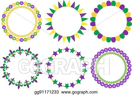 Vector Illustration - Mardi gras frame set. cute round border with ...