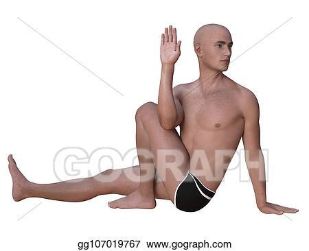 stock illustration  marichyasana pose left isolated clip