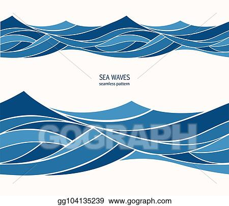 Waves blue. Eps illustration marine seamless
