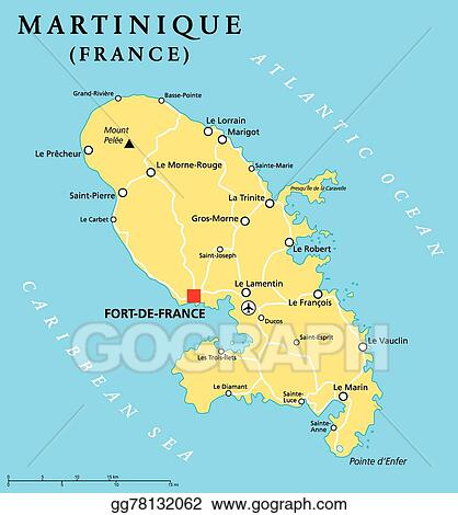 EPS Illustration Martinique political map Vector Clipart