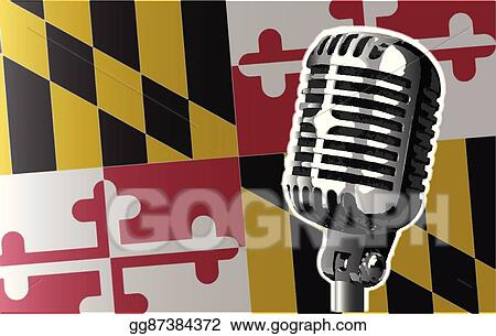 vector art maryland flag and microphone clipart drawing rh gograph com maryland flag vector free download Maryland Flag Black and White