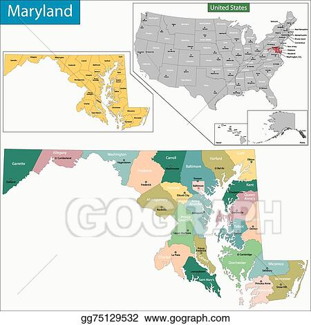 Vector Art - Maryland map. Clipart Drawing gg75129532 - GoGraph