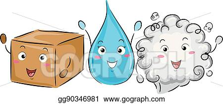 vector illustration mascot science solid liquid gas eps clipart rh gograph com Solid Molecules Clip Art Solid Molecules Clip Art