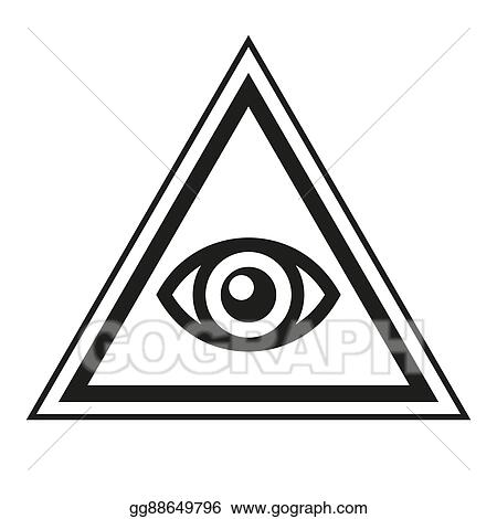 Vector Illustration Masonic Symbol All Seeing Eye Inside Pyramid