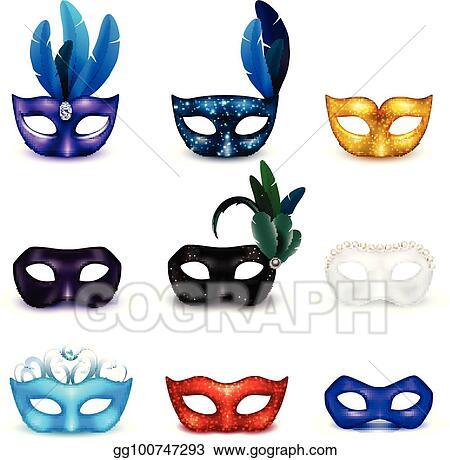 vector clipart masquerade mask realistic icon set vector rh gograph com masquerade clipart free clipart masquerade ball