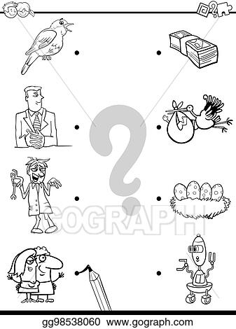 Vector Art - Match objects educational coloring book. Clipart ...