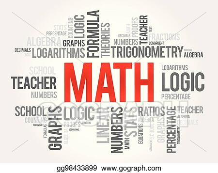 vector illustration math word cloud collage education concept