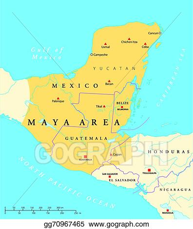 Vector Stock Maya High Culture Area Map Clipart Illustration