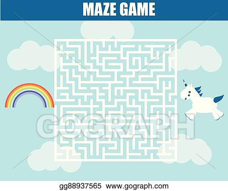 Vector Stock Maze Game Unicorn In Labyrinth Seeking For Rainbow