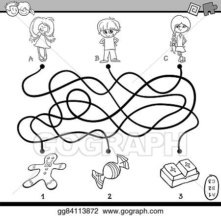 Eps Illustration Maze Puzzle Coloring Page Vector Clipart