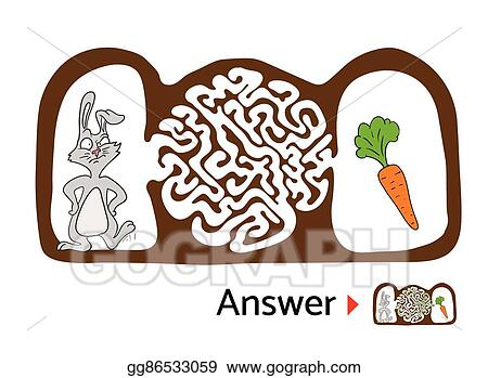 Vector Art Maze Puzzle For Kids With Rabbit And Carrot Labyrinth