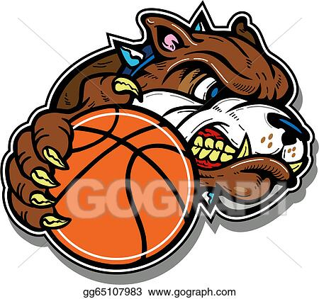 vector art mean bulldog with basketball clipart drawing rh gograph com
