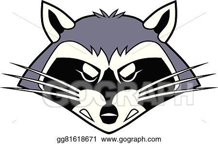 vector art mean stylized cartoon raccoon head clipart drawing