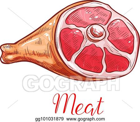 Vector Art Meat Isolated Sketch With Ham Or Pork Leg Clipart