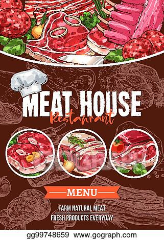 Vector Clipart Meat Menu Sketch Banner For Barbecue