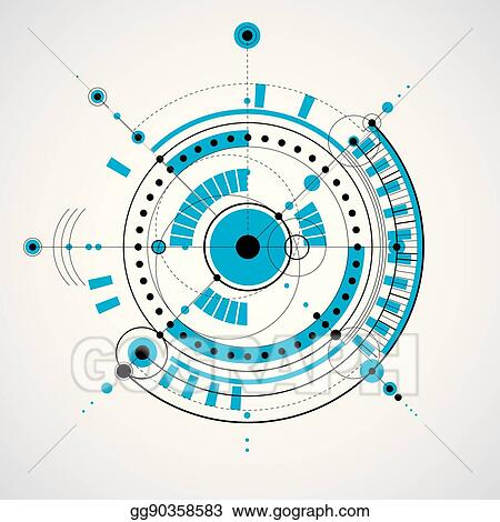Mechanical Scheme Vector Engineering Drawing With Circles And Geometric Parts Of Mechanism Technical Plan Can Be Used In Web Design As Wallpaper