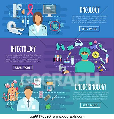 Vector Clipart Medical Banner Set Of Doctor With Healthcare Icons Vector Illustration Gg99170690 Gograph