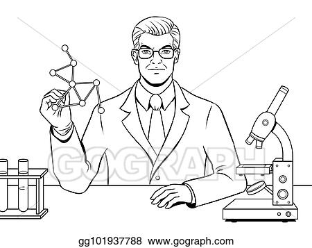 EPS Illustration - Medical chemist scientist coloring book vector ...