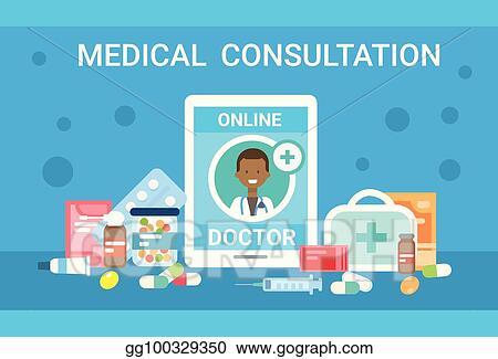 Vector Art Medical Consultation Online Doctor Health Care Clinics Hospital Service Medicine Banner Eps Clipart Gg100329350 Gograph