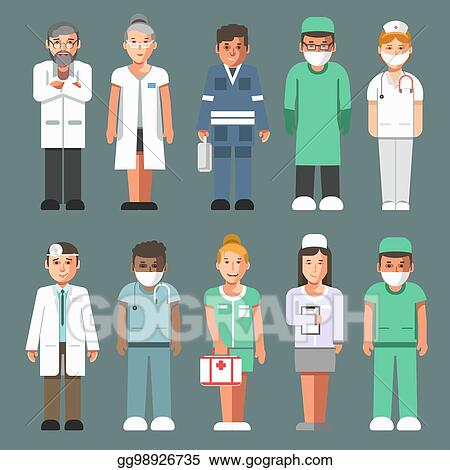 Vector Illustration Medical Staff In Uniforms Isolated Cartoon