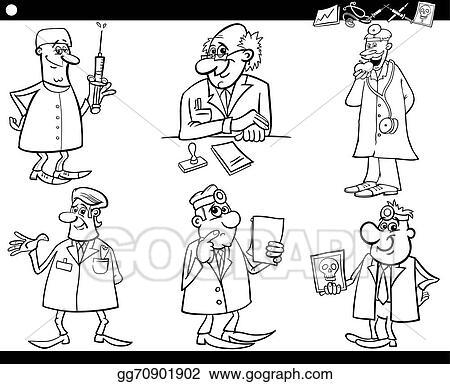 Vector Illustration - Medical staff set coloring book. EPS Clipart ...