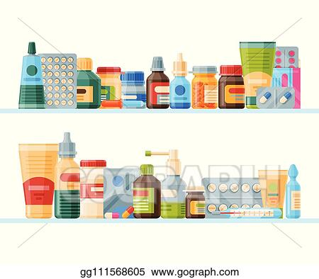 Vector Illustration Medication On Shelf Banner Vector Illustration Medicine Pharmacy Store Hospital Set Of Drugs With Labels Pharmaceutics Concept Medical Pills And Bottles Drugs List Stock Clip Art Gg111568605 Gograph