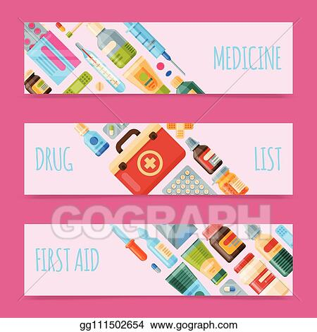 vector art medicine set of banners vector illustration medicine pharmacy store hospital set of drugs with labels medication pharmaceutics concept medical pills and bottles drug list eps clipart gg111502654 gograph medicine set of banners vector