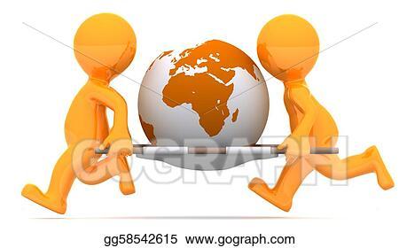 drawings medics carrying earth globe conceptual illustration