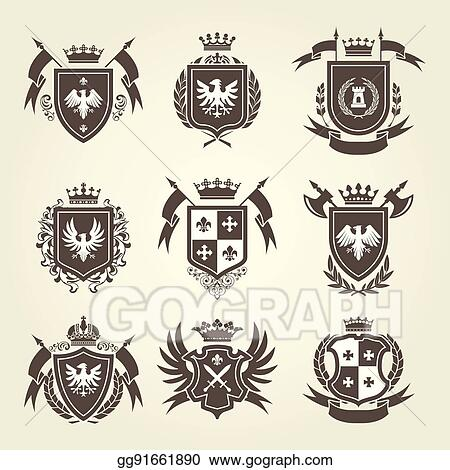 Vector Stock Medieval Royal Coat Of Arms And Knight