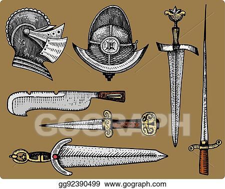 Sword realistic. Vector clipart medieval symbols