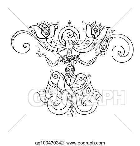 Vector Clipart Meditation Yoga Silhouette Vector Illustration Gg100470342 Gograph