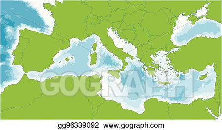 EPS Vector - Mediterranean sea map. Stock Clipart Illustration ...