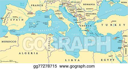 Mediterranean Political Map.Eps Illustration Mediterranean Sea Region Political Vector