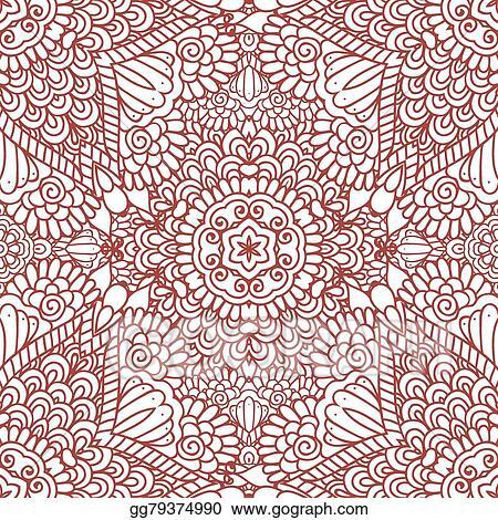 Vector Illustration Mehndi Henna Design Seamless Pattern Stock
