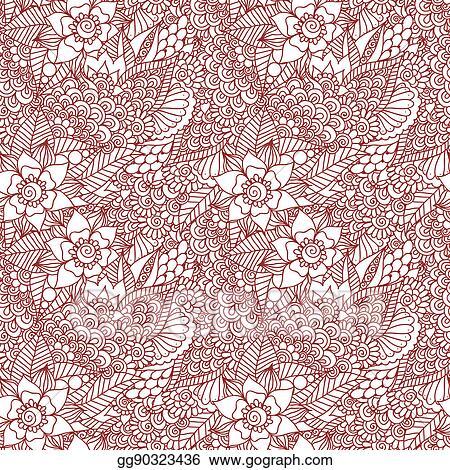 Stock Illustration Mehndi Henna Design Seamless Pattern Clip Art