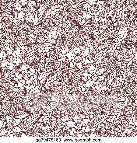 Vector Illustration Mehndi Henna Design Seamless Eps Clipart