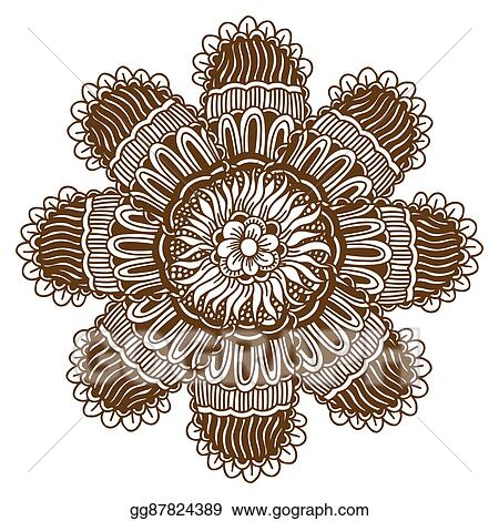 b00480887 Vector Clipart - Mehndi henna tattoo mandala. Vector Illustration ...