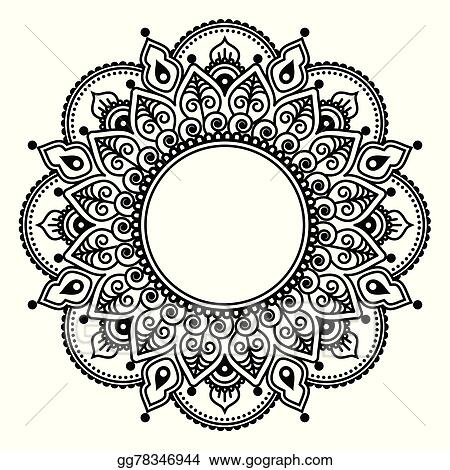 Vector Art Mehndi Lace Indian Henna Tattoo Clipart Drawing