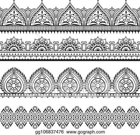 f10f6239681 Mehndi seamless borders. Henna oriental patterns. Indian floral vector  frames