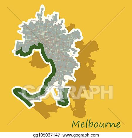 Vector Stock Melbourne Australia Map In Retro Style Sticker