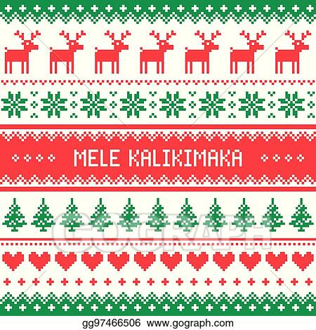 Hawaiian Merry Christmas.Eps Illustration Mele Kalikimaka Merry Christmas In
