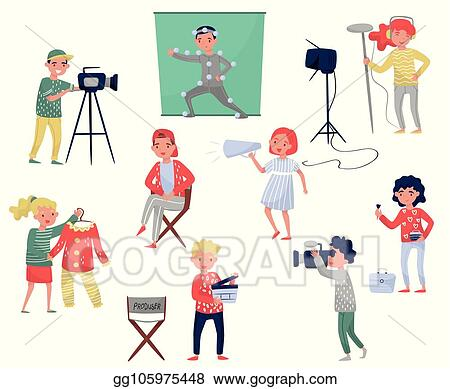 Vector Stock Members Of Film Crew Producer On Chair Cameraman
