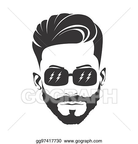 Stock Illustrations - Men haircut hairstyle with beard ...  Men Hair Clipart
