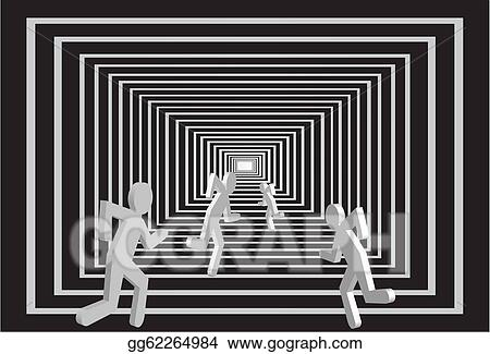 Eps Illustration Men In The Tunnel People Competition Vector