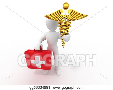 Drawings Men With Symbols Of Medicine 3d Stock Illustration